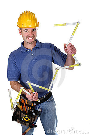 Isolated young smiling standing worker