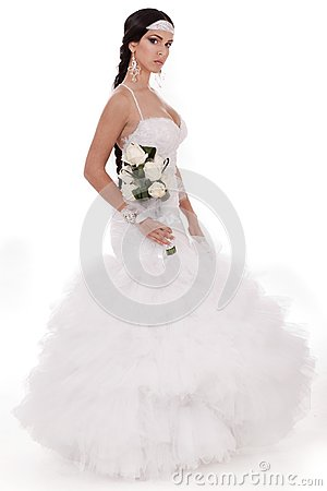 Isolated young trendy bride with bouquet