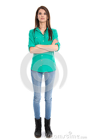 Isolated young woman in blue jeans in full length.