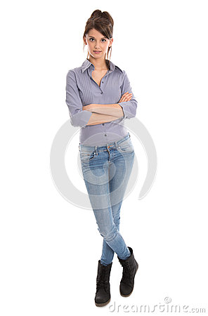 Isolated young woman in full body length.