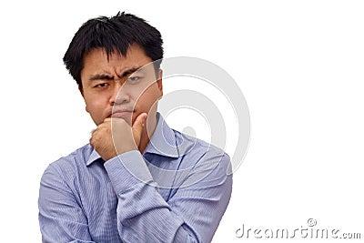 Isolation photo of businessman thinking hard