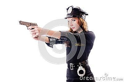 Isolerad kvinnlig polis