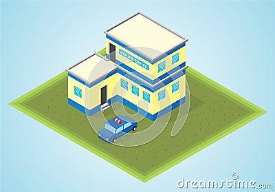 Isometric γραφείο αστυνομίας