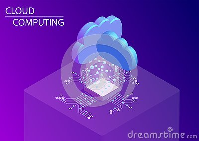 Cloud computing and as a service concept. 3d isometric vector illustration Vector Illustration