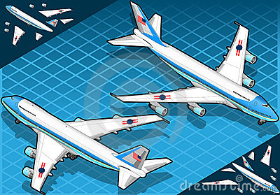 Isometric air force one in two position