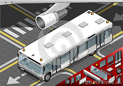 Isometric Airport Bus in Front View