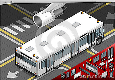 Isometric Airport Bus in Rear View