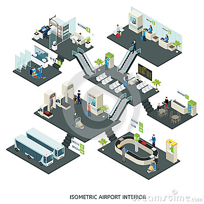 Isometric Airport Halls Composition Vector Illustration