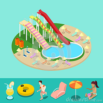 Isometric Aqua Park with Water Slides and Pool. Summer Vacation Vector Illustration