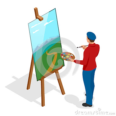 Isometric Artist Painting With Colorful Palette Standing Near ...