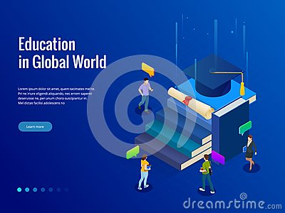 Isometric banner for web Education in Global world, online learning concept. Books step education. Vector illustration. Vector Illustration