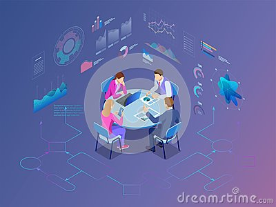 Isometric business people talking conference meeting room. Team work process Vector Illustration