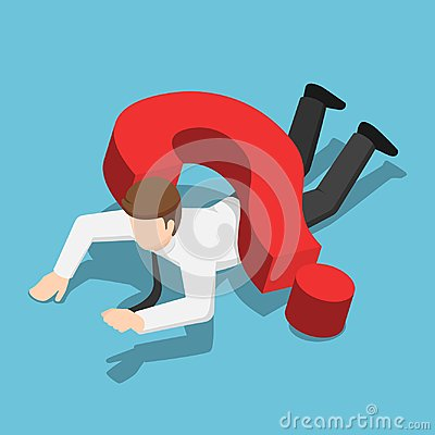 Free Isometric Businessman Crushed By Question Mark Sign Stock Photo - 123498310
