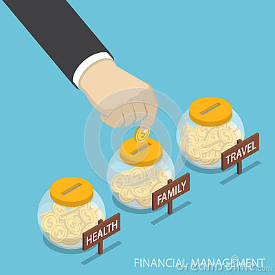 Free Isometric Businessman Hand Put Coin Into Family, Health, Travel Stock Photos - 92441253