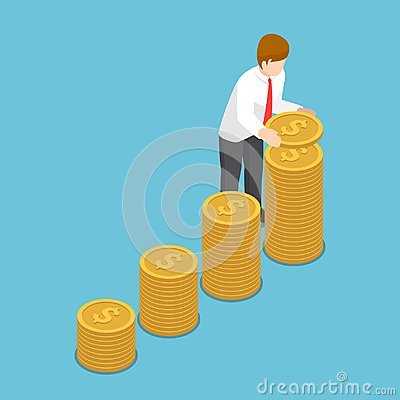 Free Isometric Businessman Put Coin To Growth Stack Of Coins. Royalty Free Stock Image - 107572876