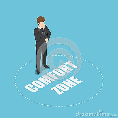 Free Isometric Businessman Standing In Comfort Zone Stock Photography - 123498312