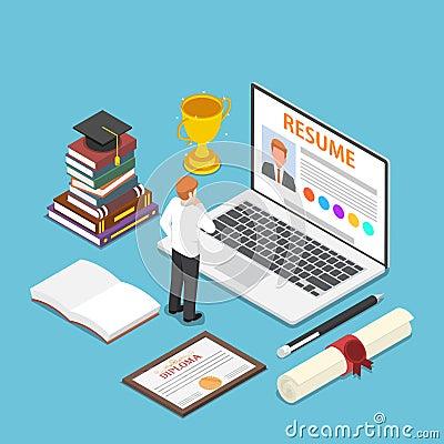 Free Isometric Businessman Writing Resume On His Laptop Stock Image - 123023781