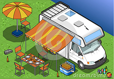 Isometric camper in camping in front view