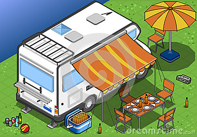 Isometric camper in camping in rear view