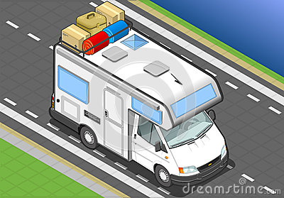 Isometric camper in front view