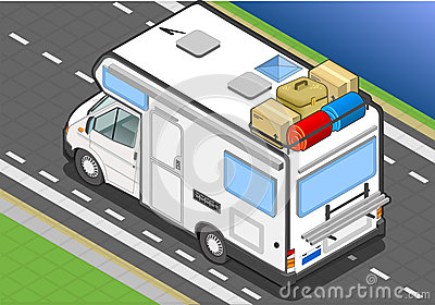 Isometric camper in rear view