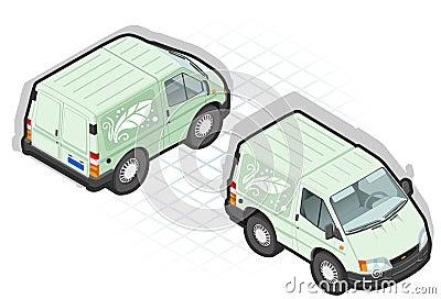 Isometric cartoon green van