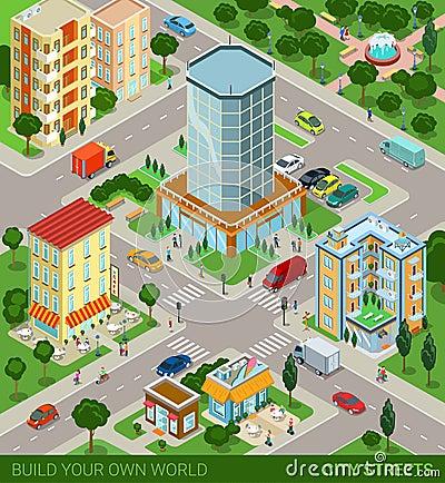 Free Isometric City Blocks Concept Royalty Free Stock Photography - 59050387