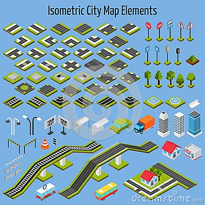 Free Isometric City Map Elements Stock Photography - 52281762