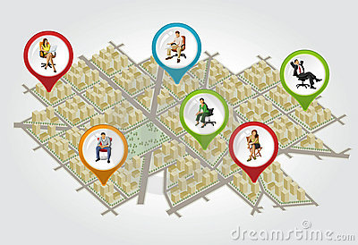 Isometric city map with people