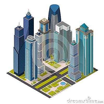 Free Isometric City,megapolis Concept Office Buildings, Skyscraper, Landmarks 3d Stock Images - 77656064