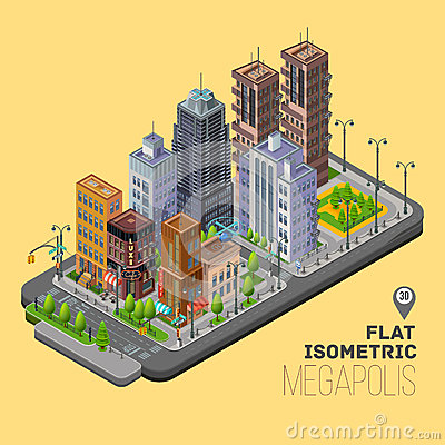 Free Isometric City, Megapolis Concept With 3d Vector Royalty Free Stock Image - 58673086