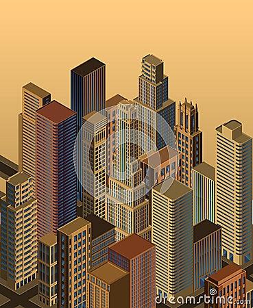 Isometric city- vector