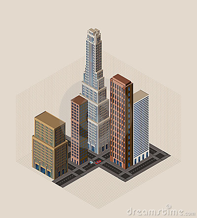 Isometric city - vector