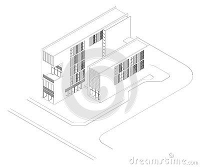 Isometric Drawing of a Modern Building