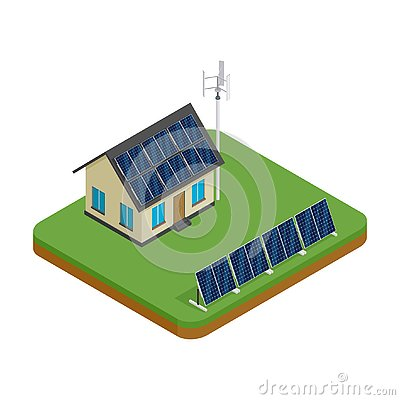 Free Isometric Eco Friendly House With Wind Turbine And Solar Panels. Green Energy Concept. Stock Images - 132085154