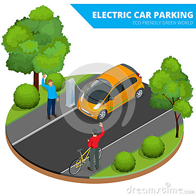Free Isometric Electric Car Parking, Electronic Car. Ecological Concept. Eco Friendly Green World. Flat 3d Vector Isometric Stock Photography - 66457052