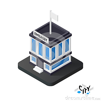 Free Isometric Embassy Icon, Building City Infographic Element, Vector Illustration Royalty Free Stock Photo - 77425285