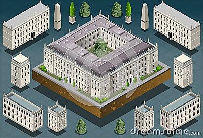 Isometric European historic building