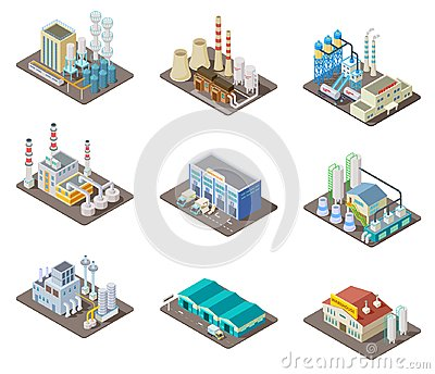 Isometric factory set. 3d industrial buildings, power plant and warehouse. Isolated vector collection Vector Illustration