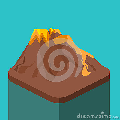Free Isometric Flat 3D Volcano Magma Nature Blowing Up Royalty Free Stock Images - 89502139