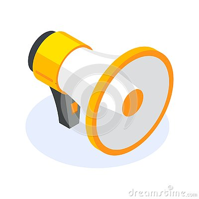Free Isometric Flat Megaphone Or Speacker Icon. Tool For Reaching Out To People At Events. Can Use For Web Banner Stock Images - 139292544