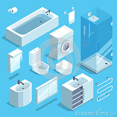Free Isometric Furniture Elements Set Of Bathroom Interior. Vector Illustrations Stock Images - 95133334
