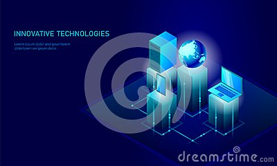 Isometric global networking planet Earth business concept. Blue glowing isometric personal information data connection Vector Illustration