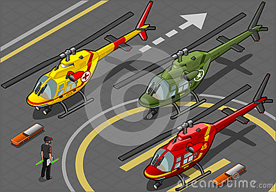 Isometric Helicopters in Three Livery