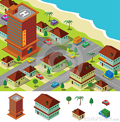 Isometric hotel near beach