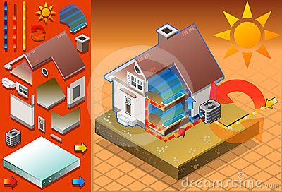 Isometric house with conditioner