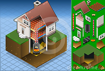 Isometric house with Wood fired boiler