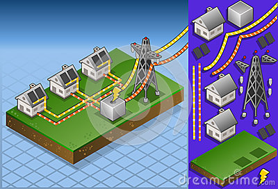 Isometric houses with solar panels