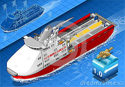 Isometric Icebreaker Ship  in Navigation