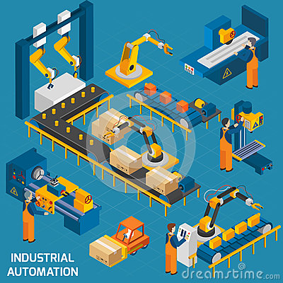 Free Isometric Icons Set With Robotic Machinery Stock Photography - 61971812